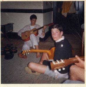 Dorm room, fall 1965. From left: Tony Thompson, Todd Cohen, Bob Cohan (hand and knee)